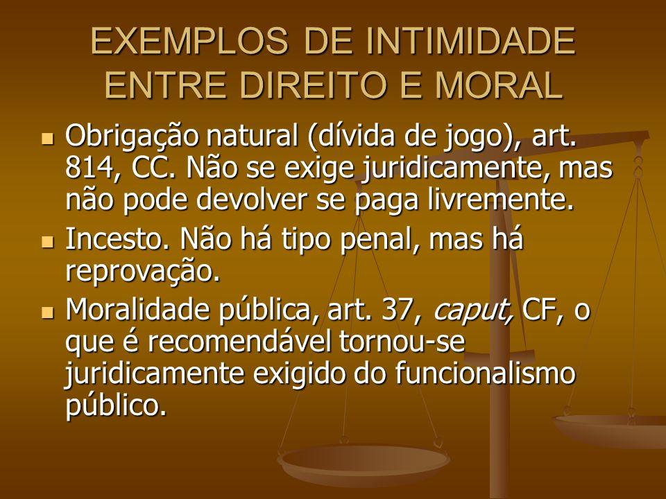 EXEMPLOS DE INTIMIDADE ENTRE DIREITO E MORAL Obrigação natural (dívida de jogo), art. 814, CC. Não se exige juridicamente, mas não pode devolver se pa