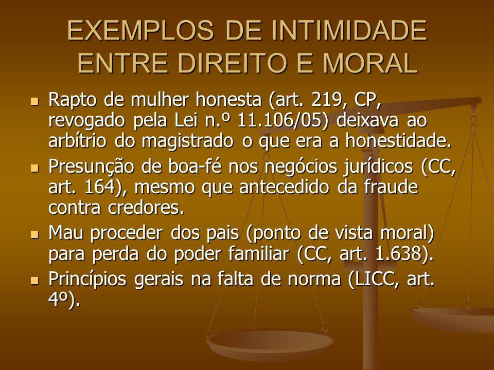 EXEMPLOS DE INTIMIDADE ENTRE DIREITO E MORAL Rapto de mulher honesta (art. 219, CP, revogado pela Lei n.º 11.106/05) deixava ao arbítrio do magistrado