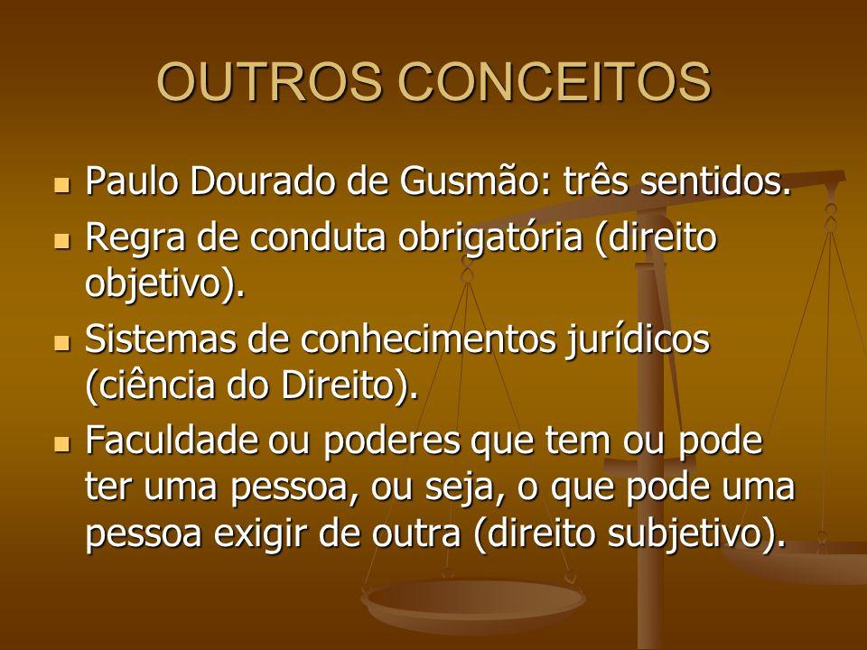 OUTROS CONCEITOS Paulo Dourado de Gusmão: três sentidos. Paulo Dourado de Gusmão: três sentidos. Regra de conduta obrigatória (direito objetivo). Regr