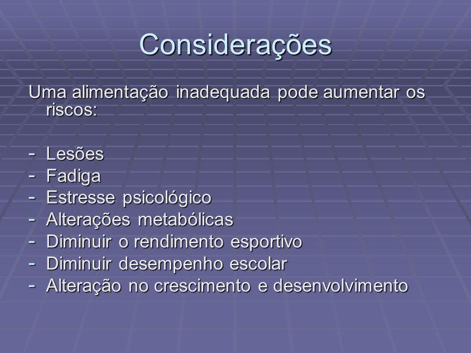 Considerações Uma alimentação inadequada pode aumentar os riscos: - Lesões - Fadiga - Estresse psicológico - Alterações metabólicas - Diminuir o rendi