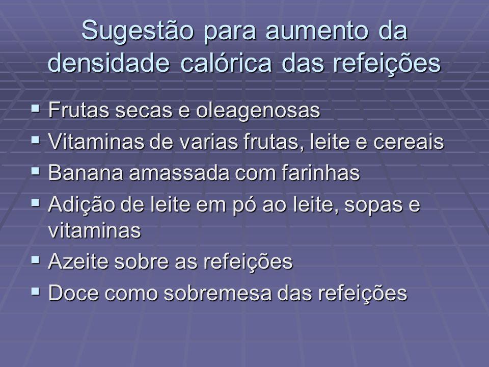 Sugestão para aumento da densidade calórica das refeições Frutas secas e oleagenosas Frutas secas e oleagenosas Vitaminas de varias frutas, leite e ce