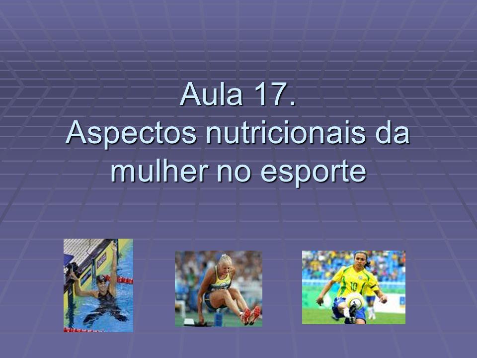 Aula 17. Aspectos nutricionais da mulher no esporte