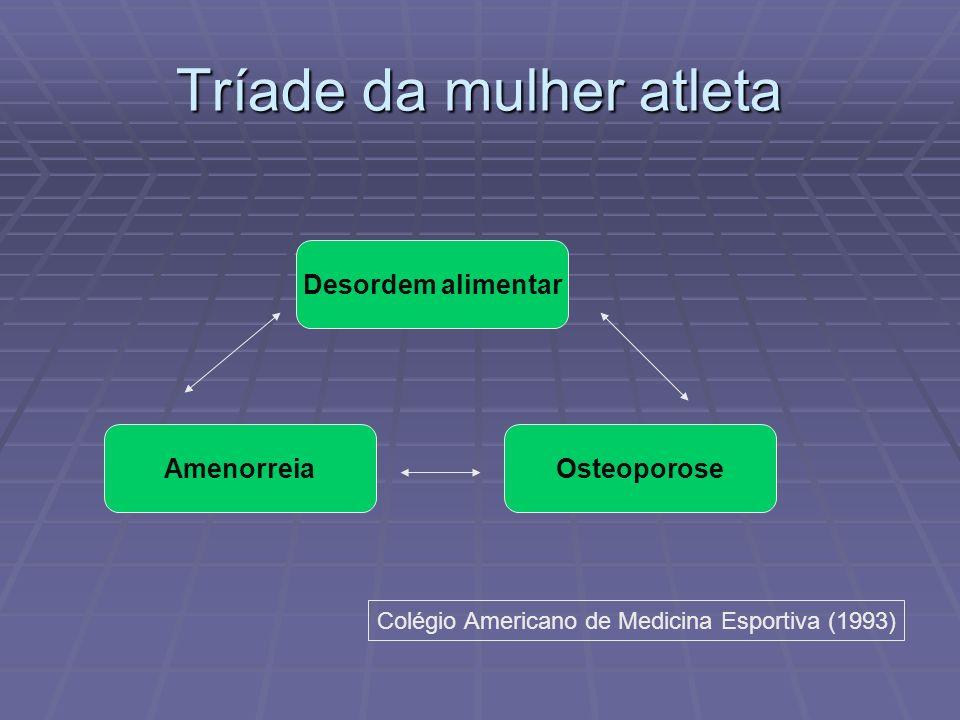 Tríade da mulher atleta Desordem alimentar AmenorreiaOsteoporose Colégio Americano de Medicina Esportiva (1993)