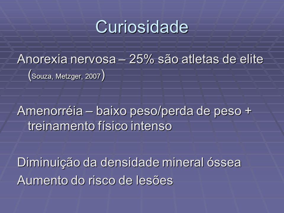 Curiosidade Anorexia nervosa – 25% são atletas de elite ( Souza, Metzger, 2007 ) Amenorréia – baixo peso/perda de peso + treinamento físico intenso Di