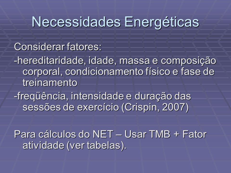Necessidades Energéticas Considerar fatores: -hereditaridade, idade, massa e composição corporal, condicionamento físico e fase de treinamento -freqüê
