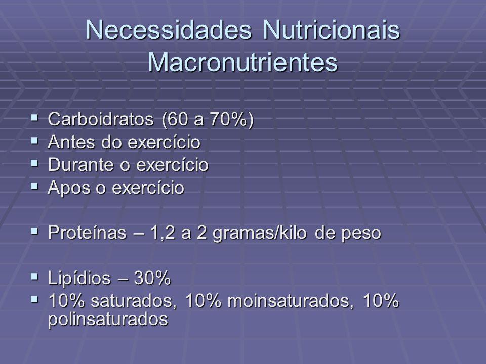 Necessidades Nutricionais Macronutrientes Carboidratos (60 a 70%) Carboidratos (60 a 70%) Antes do exercício Antes do exercício Durante o exercício Du