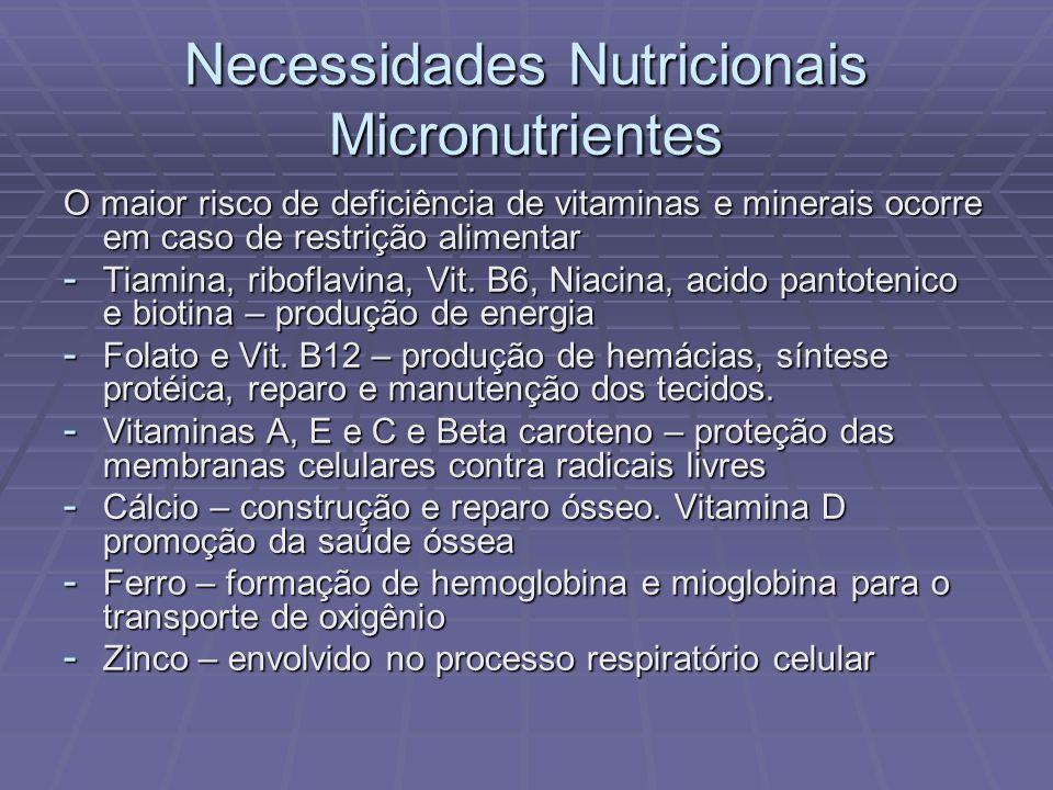 Necessidades Nutricionais Micronutrientes O maior risco de deficiência de vitaminas e minerais ocorre em caso de restrição alimentar - Tiamina, ribofl