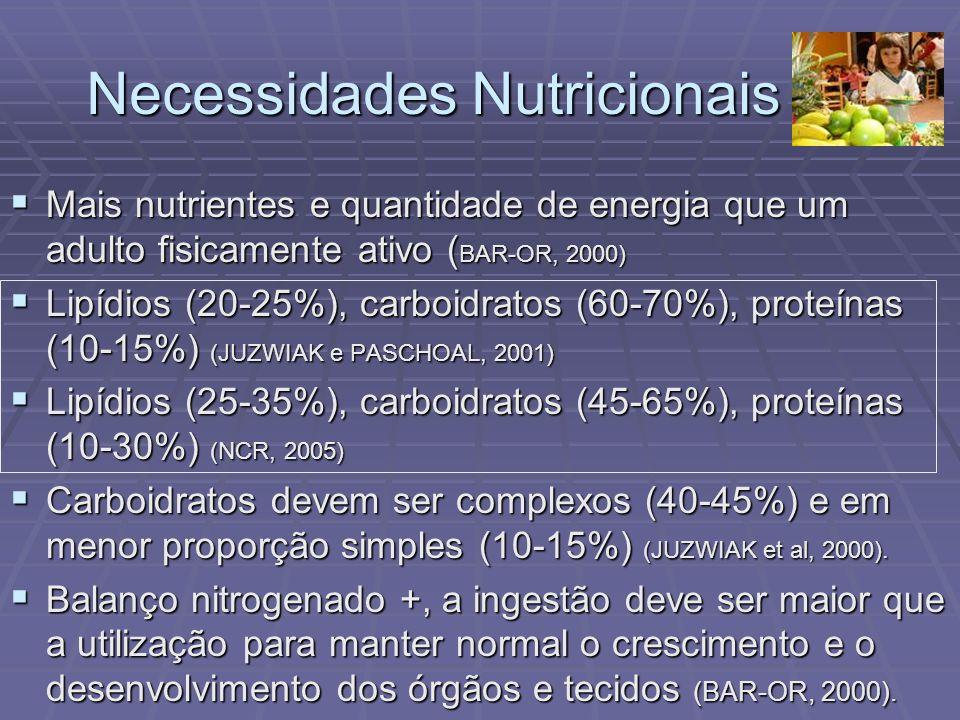 Necessidades Nutricionais Mais nutrientes e quantidade de energia que um adulto fisicamente ativo ( BAR-OR, 2000) Mais nutrientes e quantidade de ener