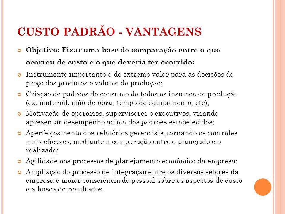CUSTO PADRÃO - VANTAGENS Objetivo: Fixar uma base de comparação entre o que ocorreu de custo e o que deveria ter ocorrido; Instrumento importante e de