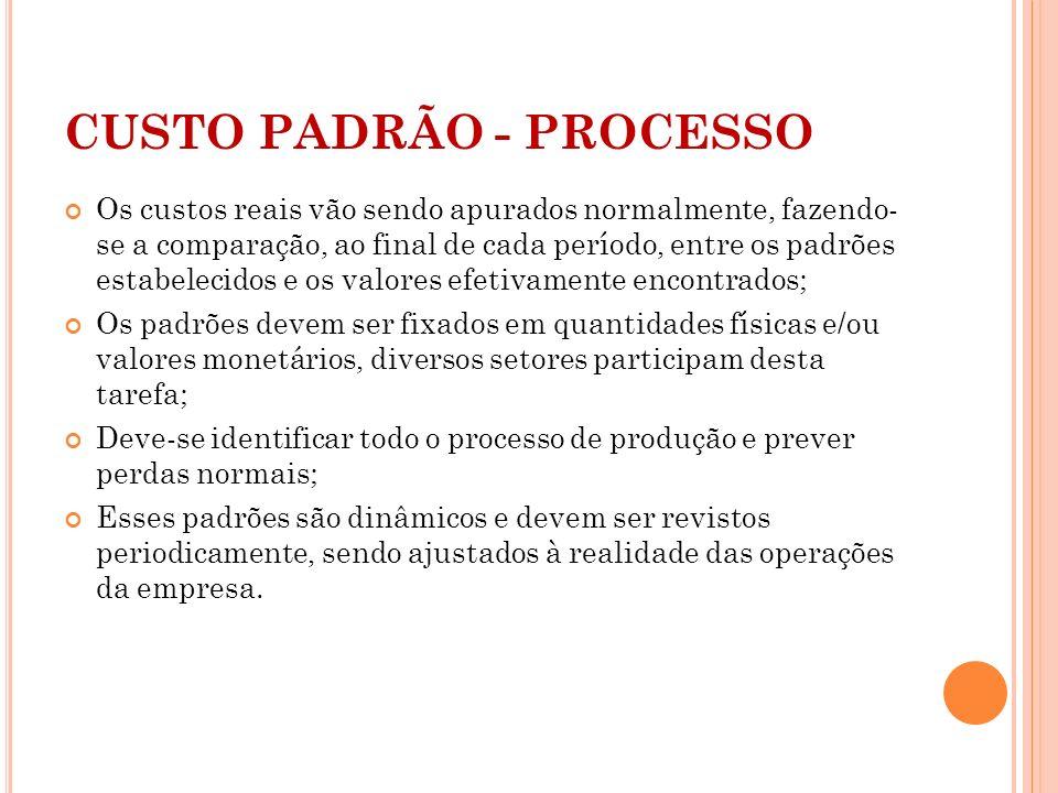 CUSTO PADRÃO - PROCESSO Os custos reais vão sendo apurados normalmente, fazendo- se a comparação, ao final de cada período, entre os padrões estabelec