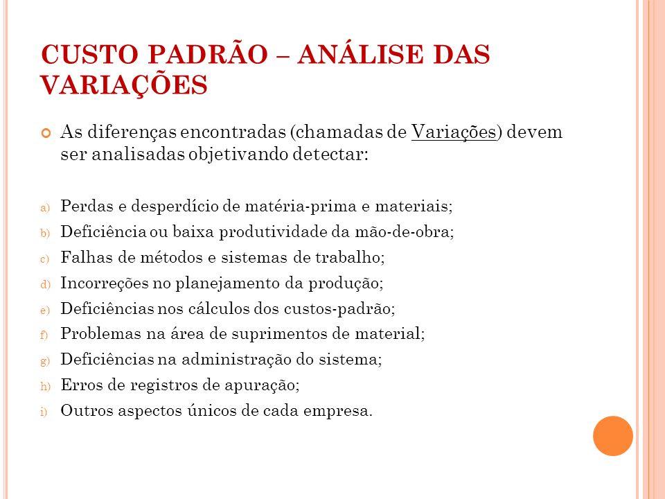 CUSTO PADRÃO – ANÁLISE DAS VARIAÇÕES As diferenças encontradas (chamadas de Variações) devem ser analisadas objetivando detectar: a) Perdas e desperdí