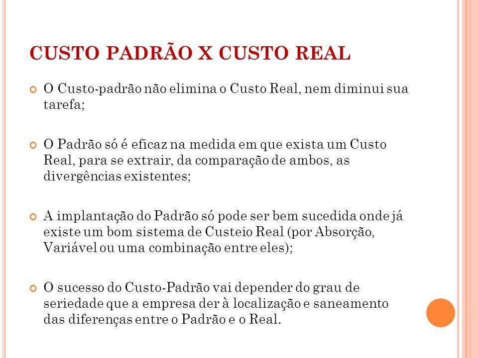 CUSTO PADRÃO X CUSTO REAL O Custo-padrão não elimina o Custo Real, nem diminui sua tarefa; O Padrão só é eficaz na medida em que exista um Custo Real,