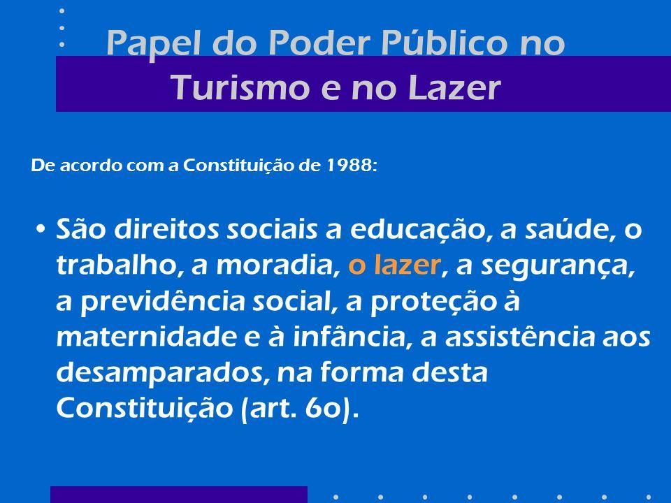 Papel do Poder Público no Turismo e No Lazer De acordo com a Constituição de 1988: O Poder Público incentivará o lazer, como forma de promoção social (Art.