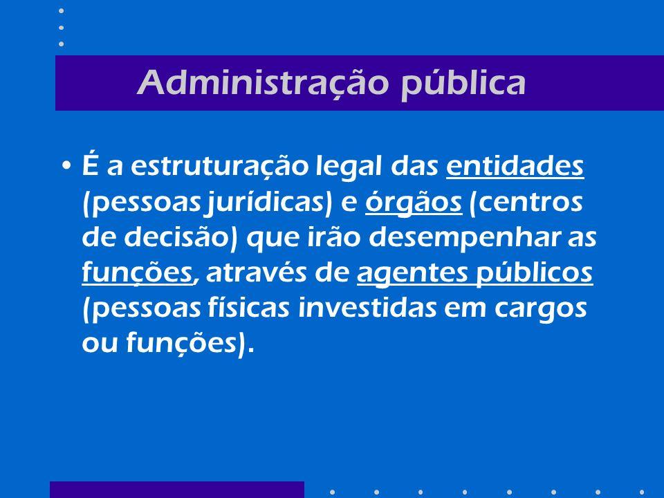 Exemplo: Entidade: União Órgão: Ministério do Turismo Função: apoiar a formulação e coordenar a implementação da política nacional do turismo, como fator de desenvolvimento social e econômico (art.2o, Lei 8.181/1991) Agente Público: –Luiz Eduardo Pereira Barretto Filho