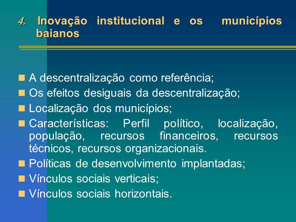 4. Inovação institucional e os municípios baianos A descentralização como referência; Os efeitos desiguais da descentralização; Localização dos municí