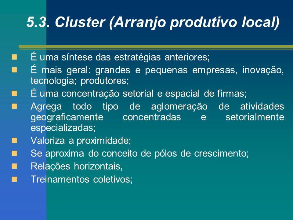 5.3. Cluster (Arranjo produtivo local) É uma síntese das estratégias anteriores; É mais geral: grandes e pequenas empresas, inovação, tecnologia; prod