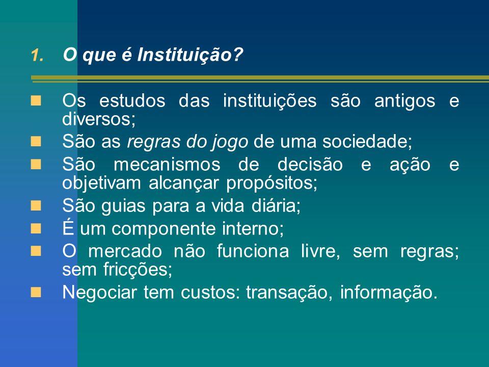 1. O que é Instituição? Os estudos das instituições são antigos e diversos; São as regras do jogo de uma sociedade; São mecanismos de decisão e ação e
