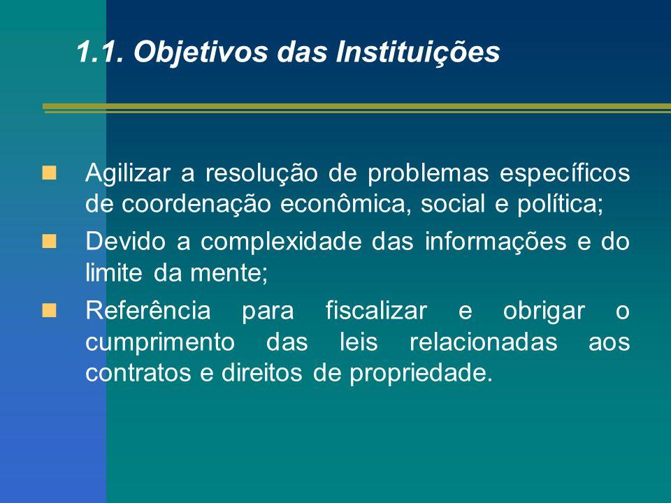 1.1. Objetivos das Instituições Agilizar a resolução de problemas específicos de coordenação econômica, social e política; Devido a complexidade das i