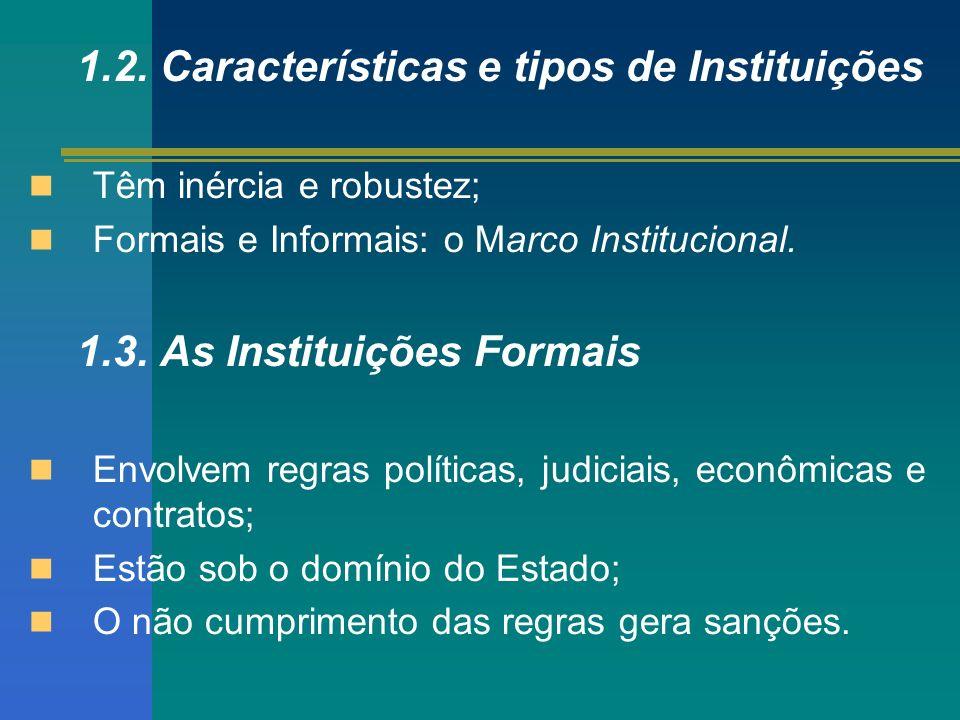1.2. Características e tipos de Instituições Têm inércia e robustez; Formais e Informais: o Marco Institucional. 1.3. As Instituições Formais Envolvem