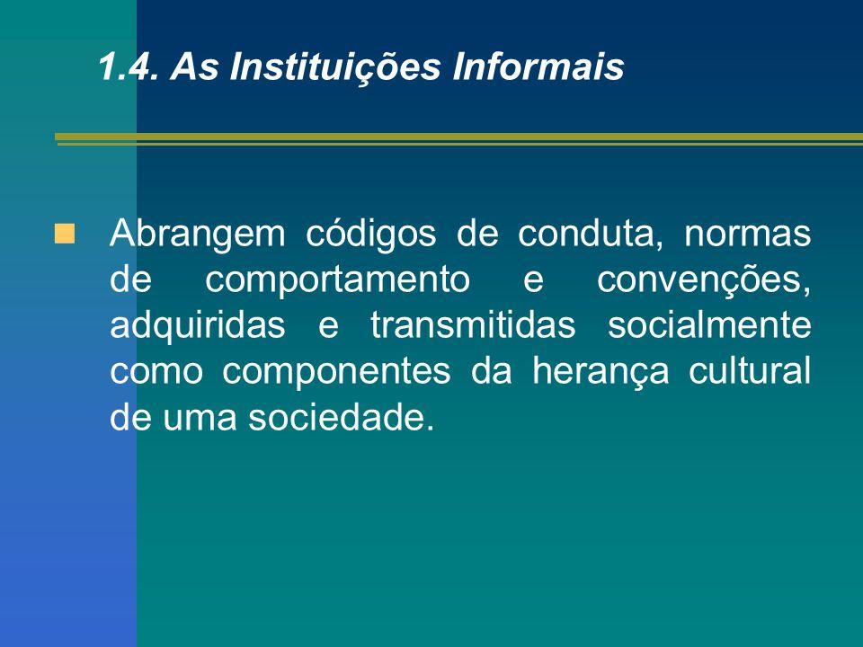 1.4. As Instituições Informais Abrangem códigos de conduta, normas de comportamento e convenções, adquiridas e transmitidas socialmente como component