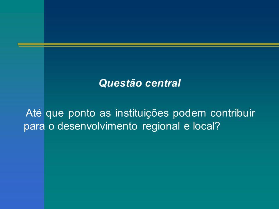 Questão central Até que ponto as instituições podem contribuir para o desenvolvimento regional e local?