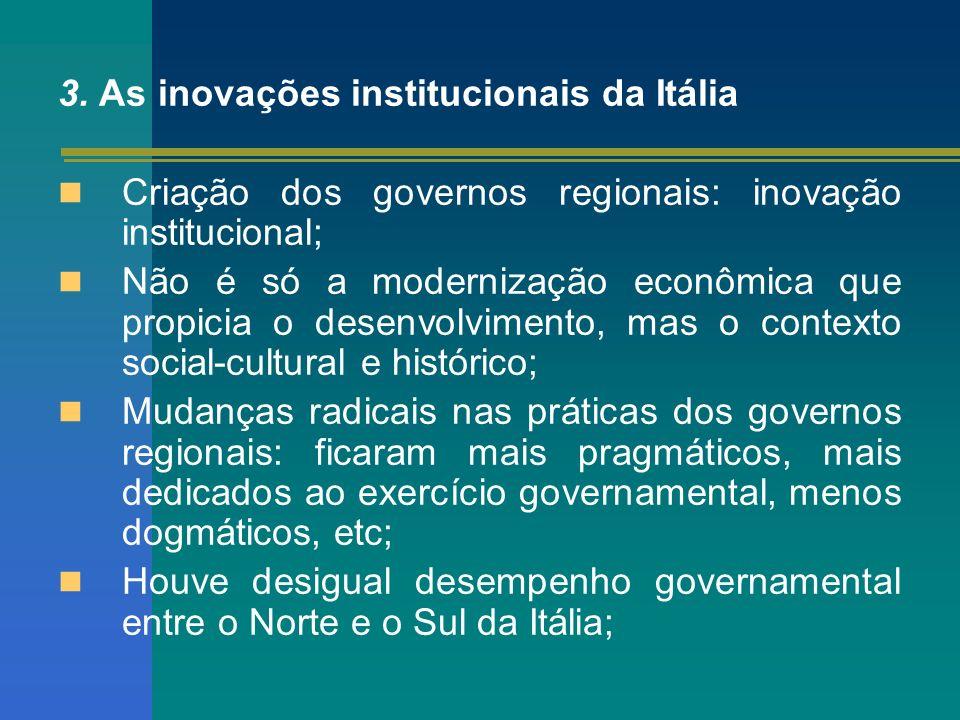 3. As inovações institucionais da Itália Criação dos governos regionais: inovação institucional; Não é só a modernização econômica que propicia o dese