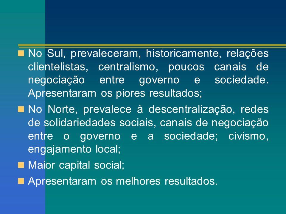 No Sul, prevaleceram, historicamente, relações clientelistas, centralismo, poucos canais de negociação entre governo e sociedade. Apresentaram os pior