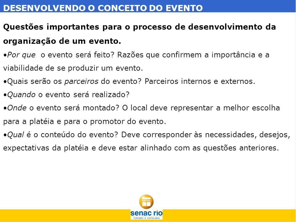 DESENVOLVENDO O CONCEITO DO EVENTO Questões importantes para o processo de desenvolvimento da organização de um evento. Por que o evento será feito? R