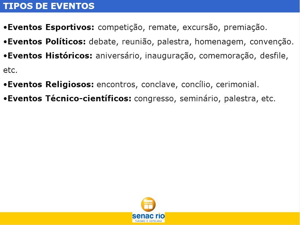 TIPOS DE EVENTOS Eventos Esportivos: competição, remate, excursão, premiação. Eventos Políticos: debate, reunião, palestra, homenagem, convenção. Even