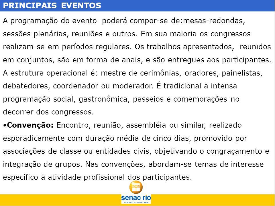 PRINCIPAIS EVENTOS A programação do evento poderá compor-se de:mesas-redondas, sessões plenárias, reuniões e outros. Em sua maioria os congressos real