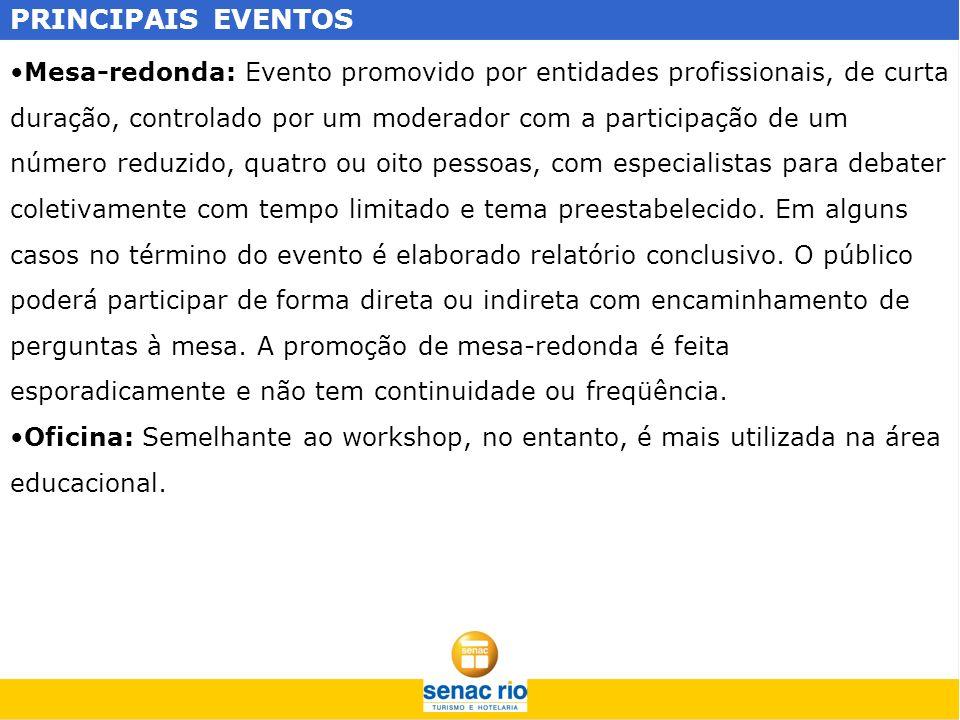 PRINCIPAIS EVENTOS Mesa-redonda: Evento promovido por entidades profissionais, de curta duração, controlado por um moderador com a participação de um