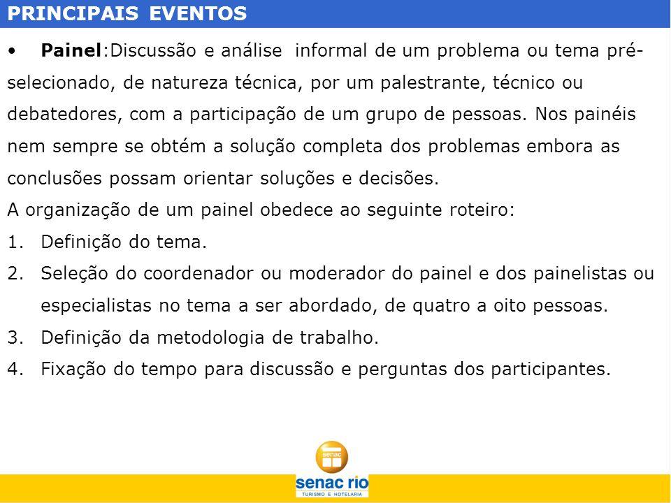 PRINCIPAIS EVENTOS Painel:Discussão e análise informal de um problema ou tema pré- selecionado, de natureza técnica, por um palestrante, técnico ou de