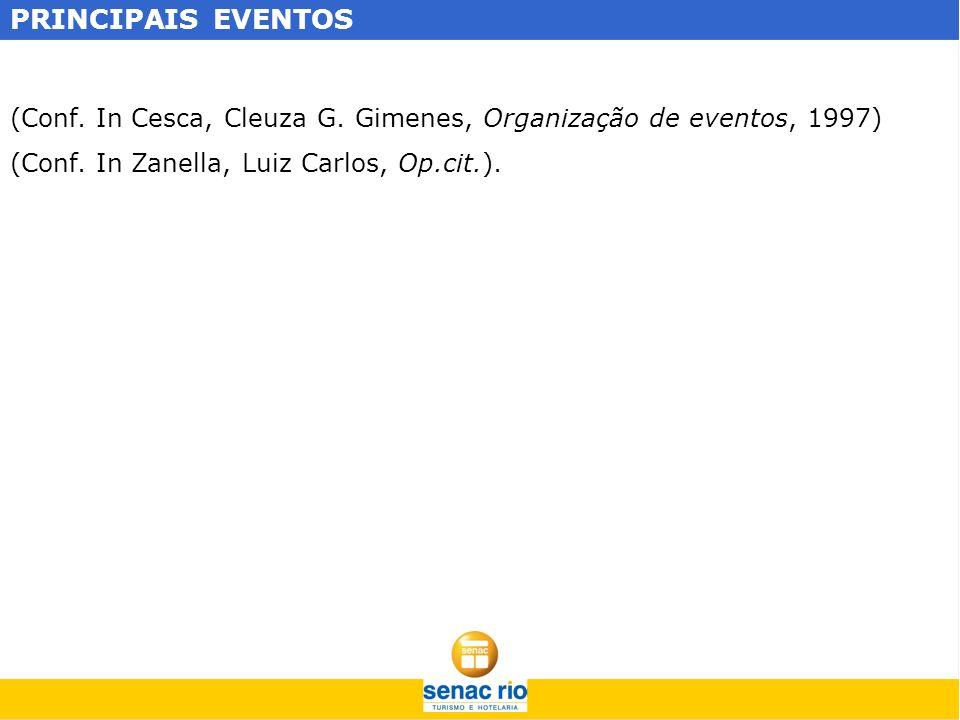 PRINCIPAIS EVENTOS (Conf. In Cesca, Cleuza G. Gimenes, Organização de eventos, 1997) (Conf. In Zanella, Luiz Carlos, Op.cit.).
