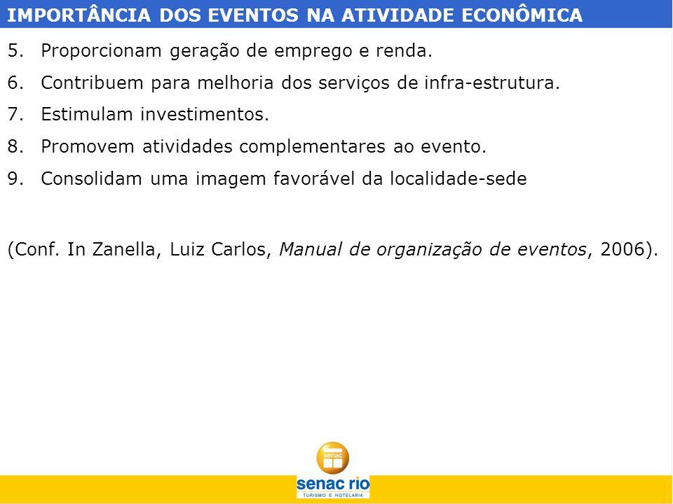 IMPORTÂNCIA DOS EVENTOS NA ATIVIDADE ECONÔMICA 5.Proporcionam geração de emprego e renda. 6.Contribuem para melhoria dos serviços de infra-estrutura.