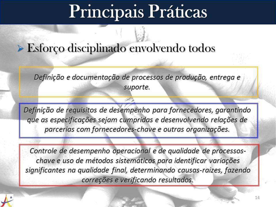 Esforço disciplinado envolvendo todos Esforço disciplinado envolvendo todos 14 Principais Práticas Definição e documentação de processos de produção,