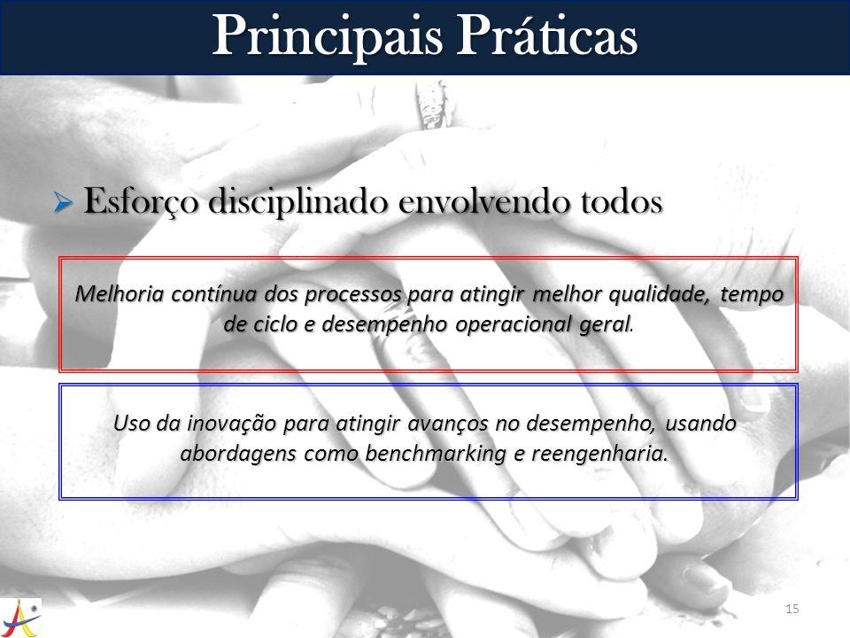 Esforço disciplinado envolvendo todos Esforço disciplinado envolvendo todos 15 Principais Práticas Melhoria contínua dos processos para atingir melhor