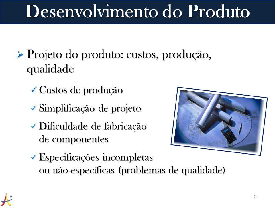 Projeto do produto: custos, produção, qualidade Projeto do produto: custos, produção, qualidade Custos de produção Custos de produção Simplificação de