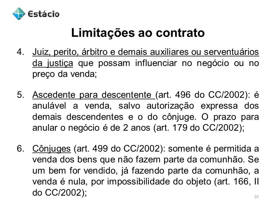 Limitações ao contrato 10 4.Juiz, perito, árbitro e demais auxiliares ou serventuários da justiça que possam influenciar no negócio ou no preço da ven