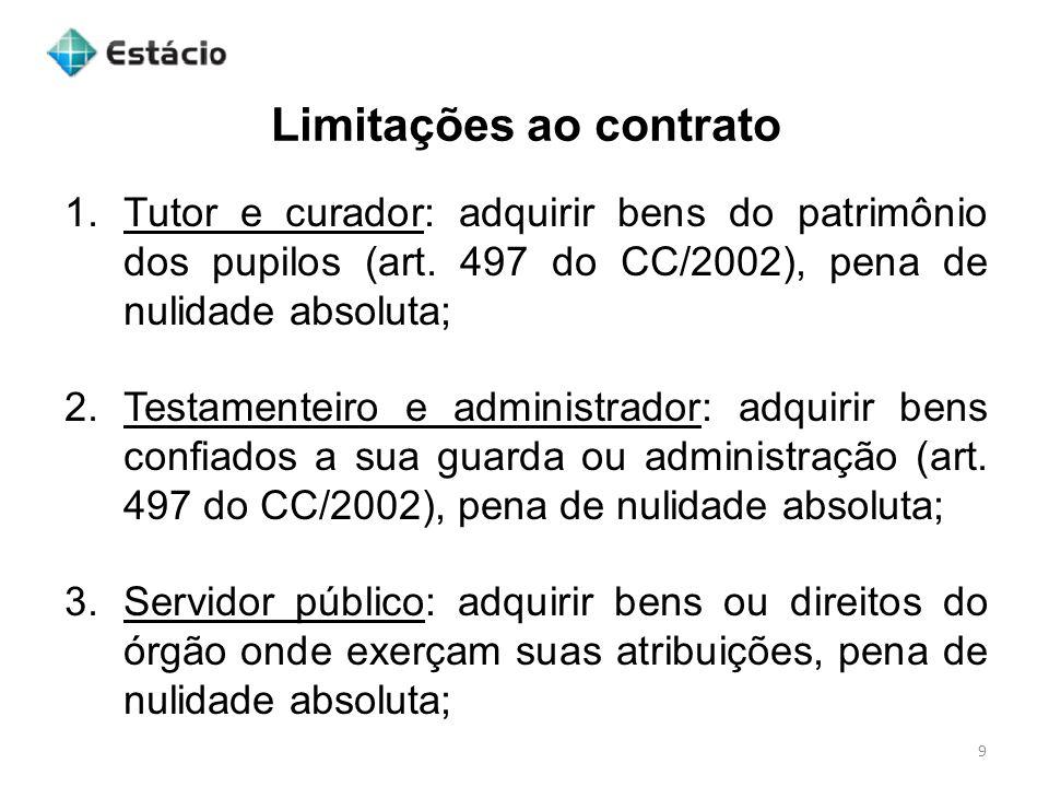 Limitações ao contrato 9 1.Tutor e curador: adquirir bens do patrimônio dos pupilos (art. 497 do CC/2002), pena de nulidade absoluta; 2.Testamenteiro