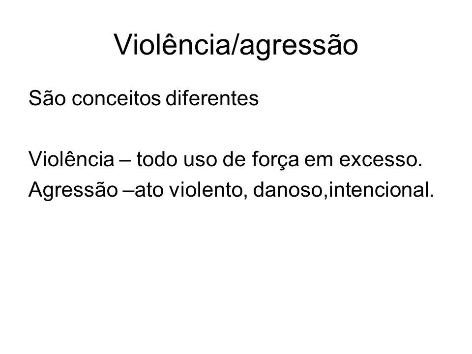 Violência/agressão São conceitos diferentes Violência – todo uso de força em excesso. Agressão –ato violento, danoso,intencional.