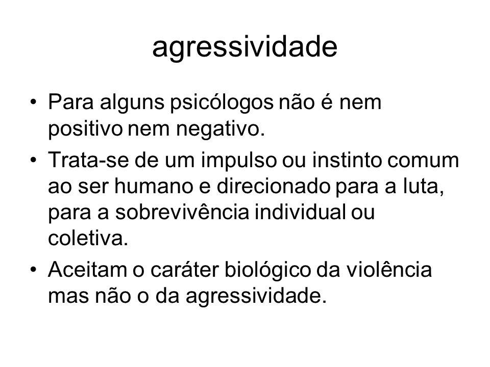 agressividade Para alguns psicólogos não é nem positivo nem negativo. Trata-se de um impulso ou instinto comum ao ser humano e direcionado para a luta