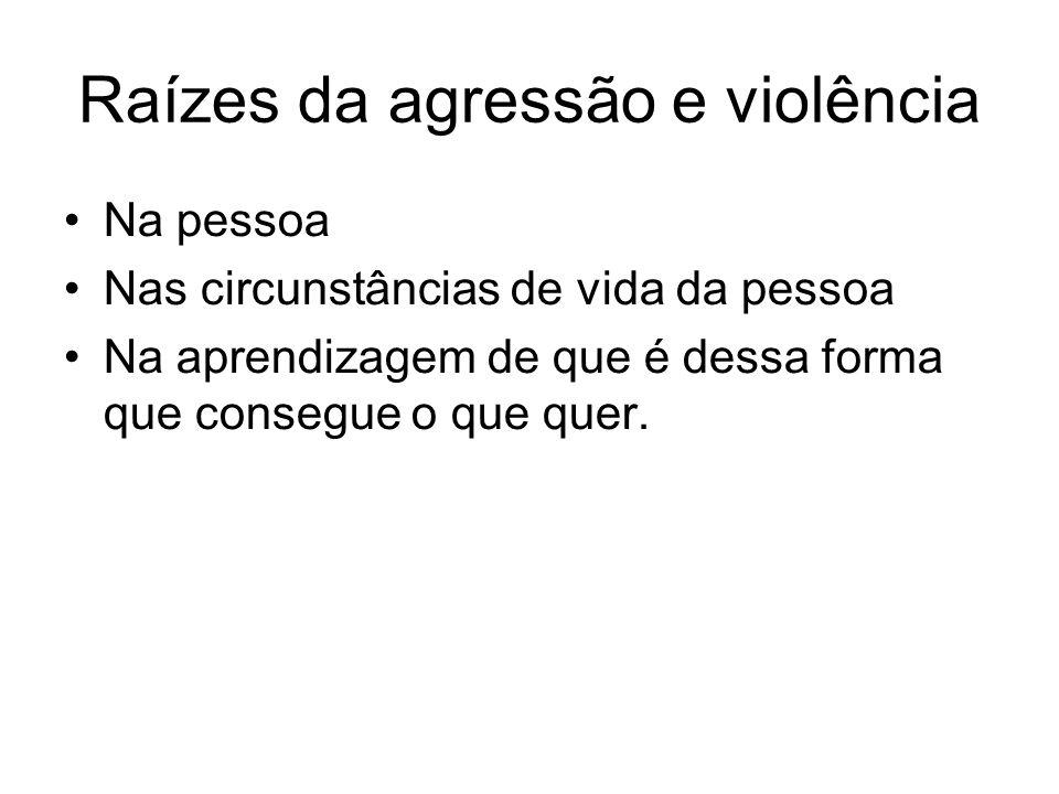 Raízes da agressão e violência Na pessoa Nas circunstâncias de vida da pessoa Na aprendizagem de que é dessa forma que consegue o que quer.