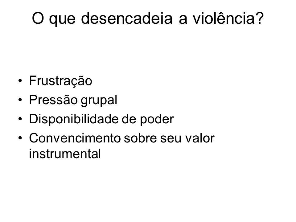 O que desencadeia a violência? Frustração Pressão grupal Disponibilidade de poder Convencimento sobre seu valor instrumental