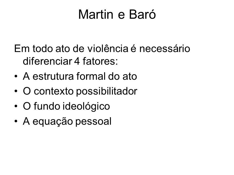 Martin e Baró Em todo ato de violência é necessário diferenciar 4 fatores: A estrutura formal do ato O contexto possibilitador O fundo ideológico A eq