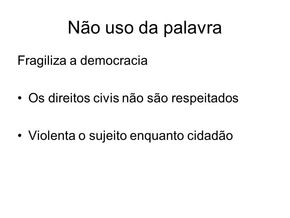 Não uso da palavra Fragiliza a democracia Os direitos civis não são respeitados Violenta o sujeito enquanto cidadão