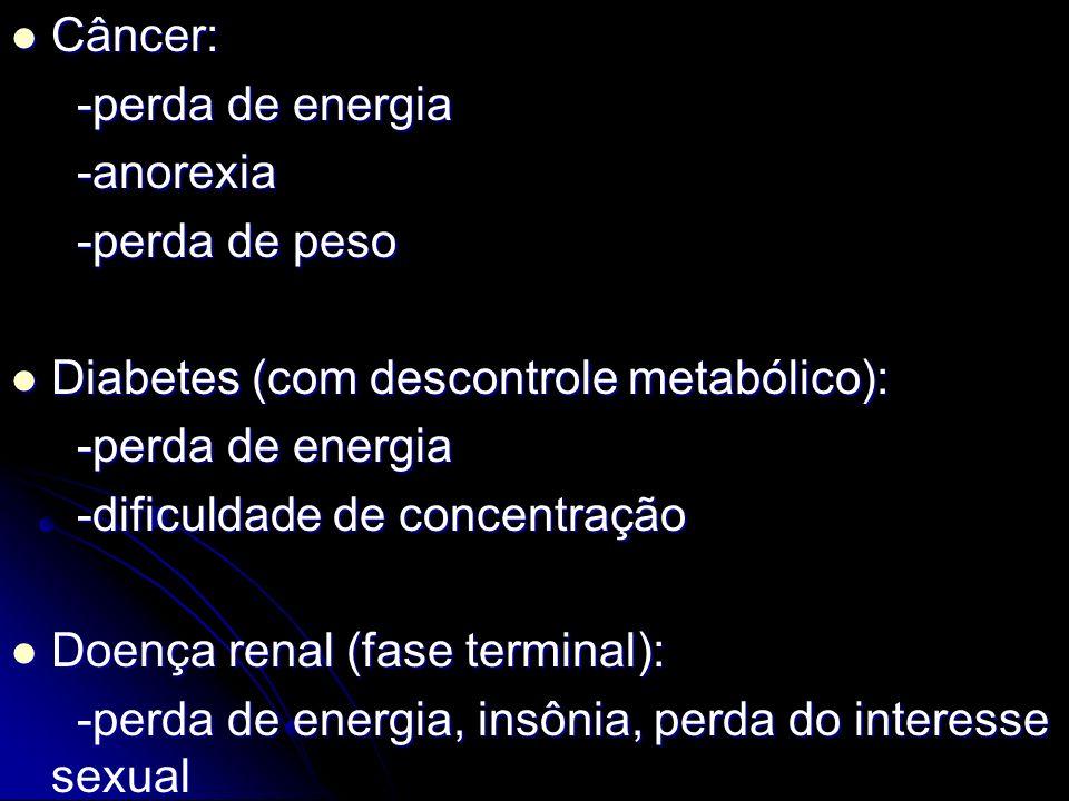 Câncer: Câncer: -perda de energia -perda de energia -anorexia -anorexia -perda de peso -perda de peso Diabetes (com descontrole metabólico): Diabetes