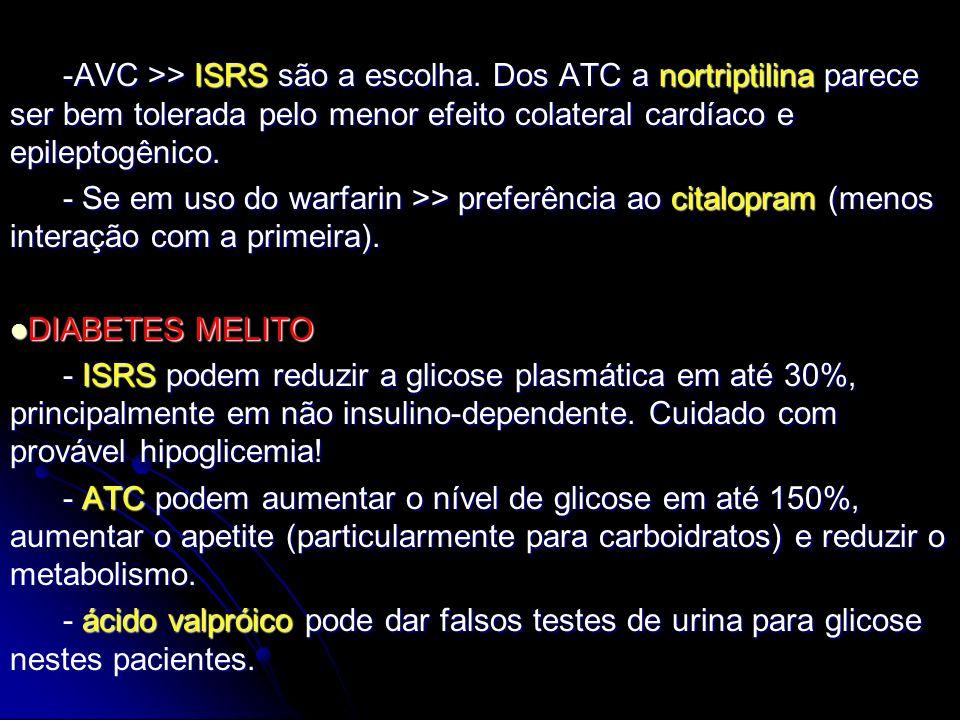 -AVC >> ISRS são a escolha. Dos ATC a nortriptilina parece ser bem tolerada pelo menor efeito colateral cardíaco e epileptogênico. -AVC >> ISRS são a