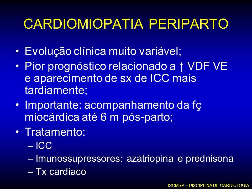 CARDIOMIOPATIA PERIPARTO Evolução clínica muito variável; Pior prognóstico relacionado a VDF VE e aparecimento de sx de ICC mais tardiamente; Importan