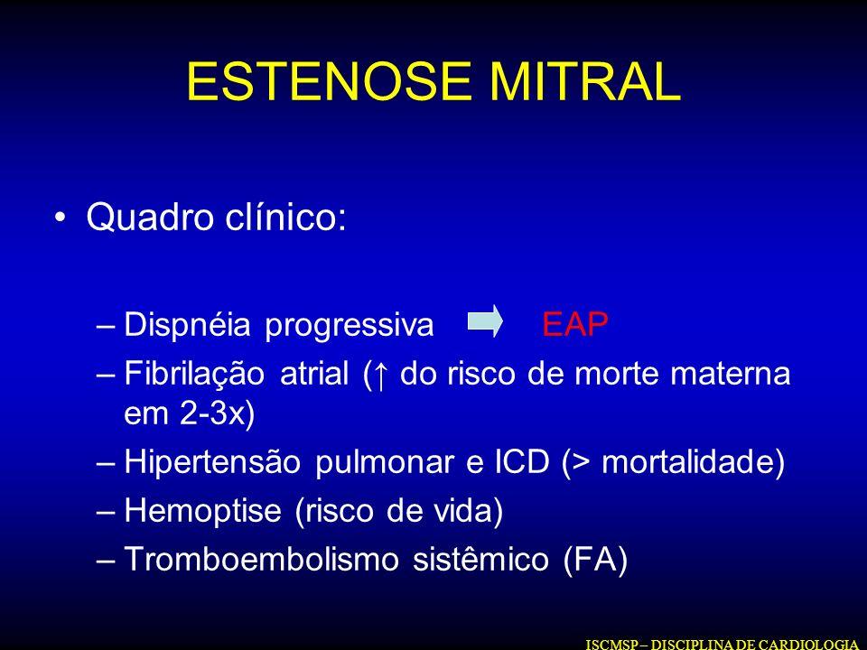 ESTENOSE MITRAL Quadro clínico: –Dispnéia progressiva EAP –Fibrilação atrial ( do risco de morte materna em 2-3x) –Hipertensão pulmonar e ICD (> morta