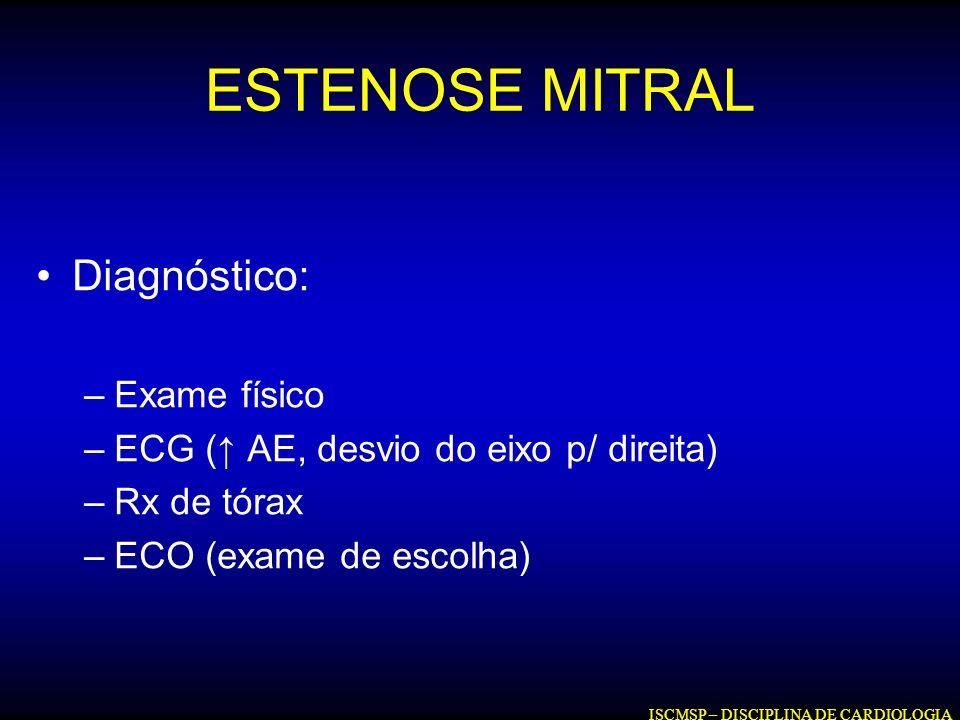 ESTENOSE MITRAL Diagnóstico: –Exame físico –ECG ( AE, desvio do eixo p/ direita) –Rx de tórax –ECO (exame de escolha) ISCMSP – DISCIPLINA DE CARDIOLOG